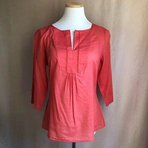 Ann Taylor Orange Blouse Slit Neck & Sleeves Sz M